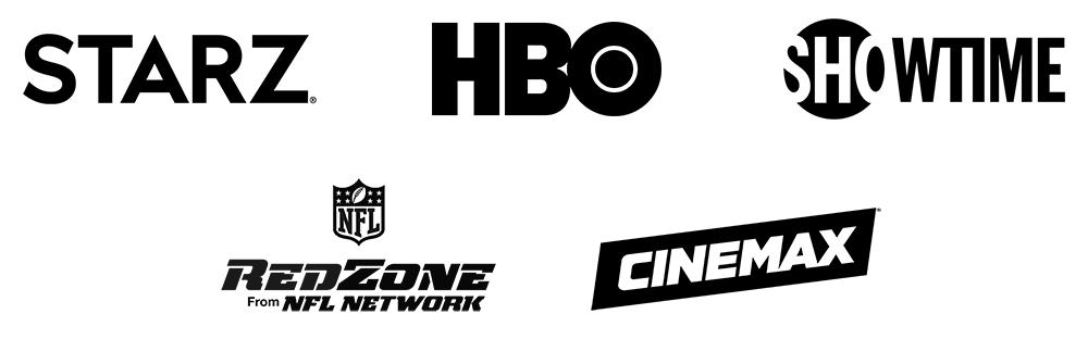 Logos: Starz, HBO, SHOWTIME, NFL RedZone, Cinemax